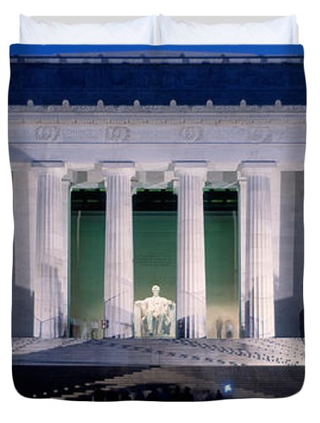 Lincoln Memorial At Dusk, Washington Duvet Cover by Panoramic Images