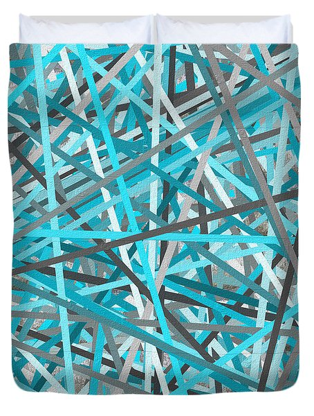 Link - Turquoise And Gray Abstract Duvet Cover by Lourry Legarde