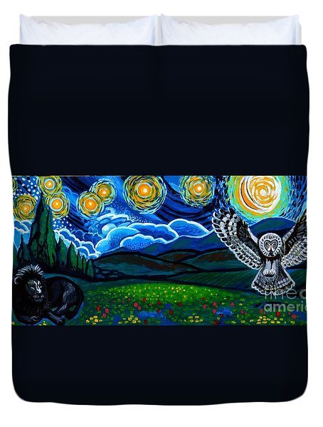 Lion And Owl On A Starry Night Duvet Cover by Genevieve Esson