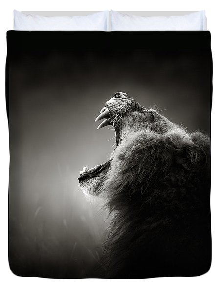 Lion Displaying Dangerous Teeth Duvet Cover by Johan Swanepoel