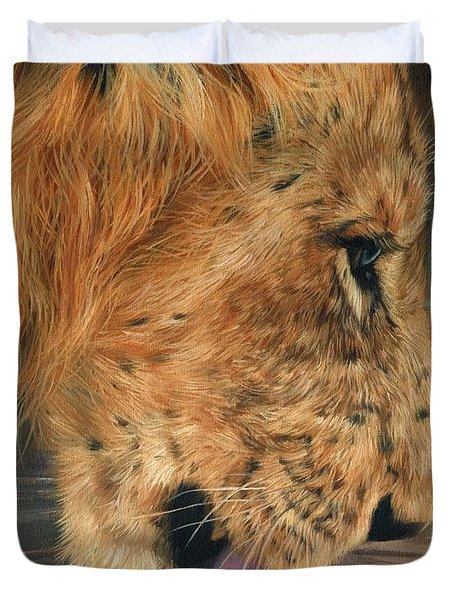 Lion Drinking Duvet Cover by David Stribbling