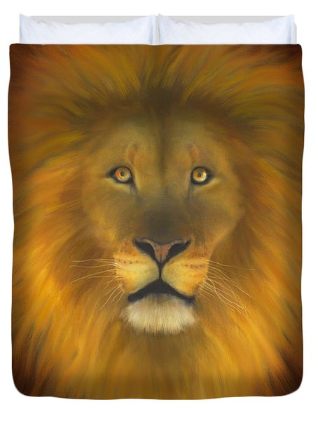 Lion Of Judah Fire In His Eyes 2 Duvet Cover by Constance Woods