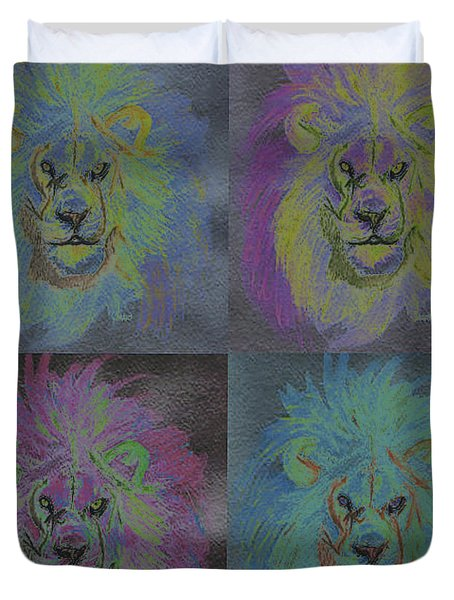 Lion X 4 Color  By Jrr Duvet Cover by First Star Art