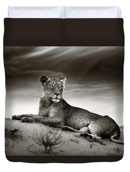 Lioness On Desert Dune Duvet Cover by Johan Swanepoel