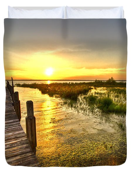 Liquid Gold Duvet Cover by Debra and Dave Vanderlaan