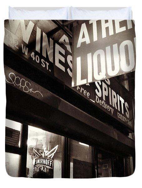 Liquor Shop - New York At Night Duvet Cover by Miriam Danar