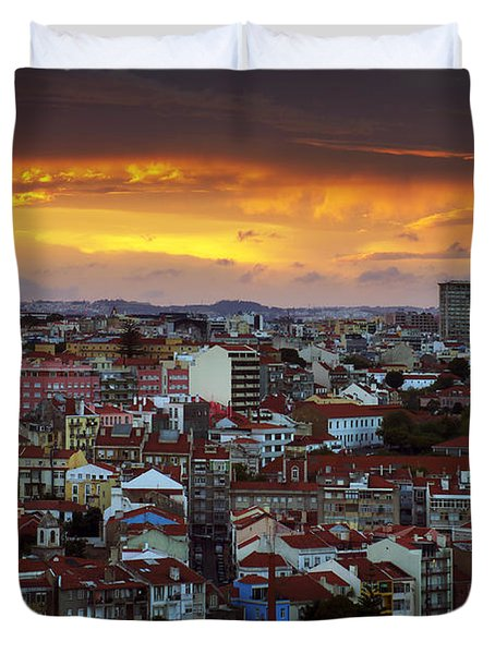 Lisbon at Sunset Duvet Cover by Carlos Caetano