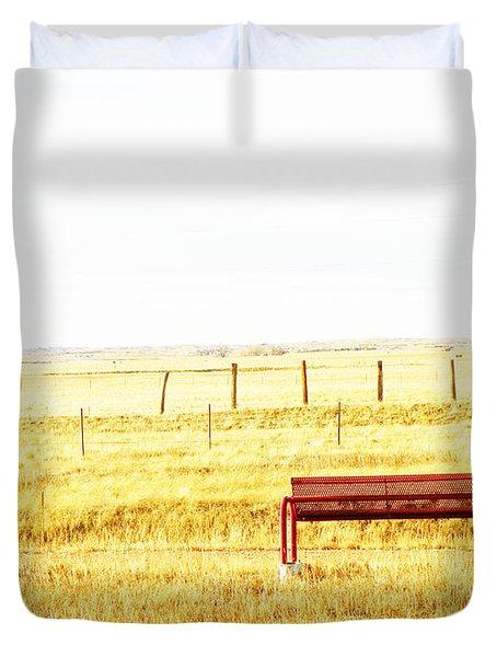 Little Bench On The Prairie Duvet Cover by Lenore Senior