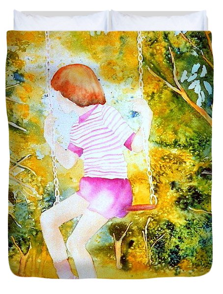 Little Girl On The Park Swing Westmount Quebec City Scene Montreal Art Duvet Cover by Carole Spandau