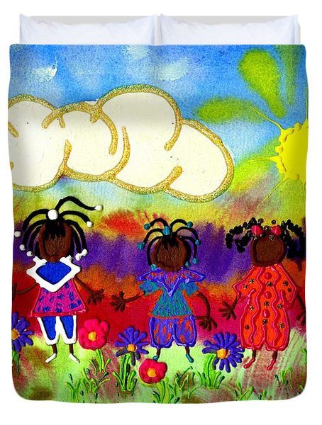 Little Girlfriends Duvet Cover by Angela L Walker