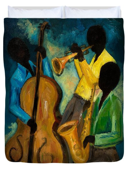 Little Jazz Trio IIi Duvet Cover by Larry Martin