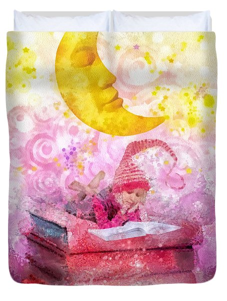 Little Reader Duvet Cover by Mo T