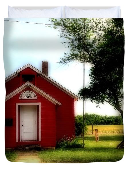 Little Red School House Duvet Cover by Kathleen Struckle
