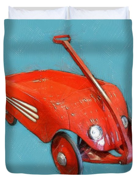 Little Red Wagon Duvet Cover by Michelle Calkins