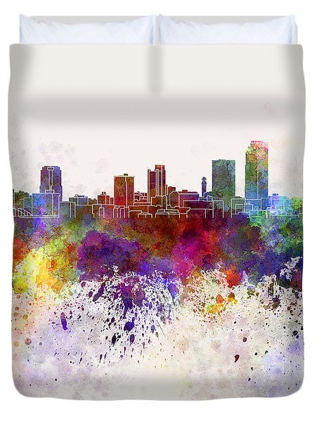 Little Rock Skyline In Watercolor Background Duvet Cover by Pablo Romero