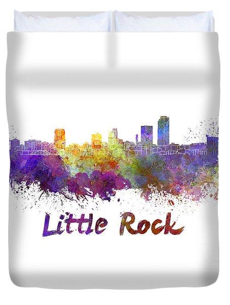 Little Rock Skyline In Watercolor Duvet Cover by Pablo Romero