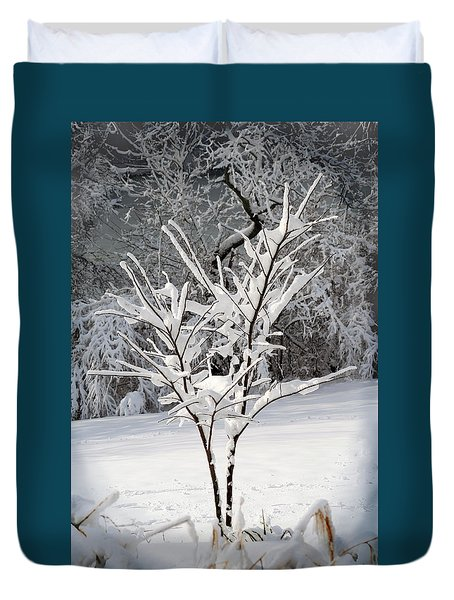 Little Snow Tree Duvet Cover by Karen Adams