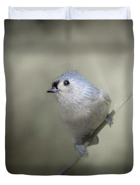 Little Tufted Titmouse Duvet Cover by Jai Johnson