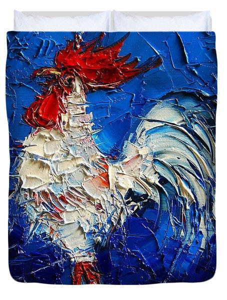 Little White Rooster Duvet Cover by Mona Edulesco