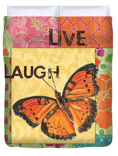 Live Laugh Love Patch Duvet Cover by Debbie DeWitt