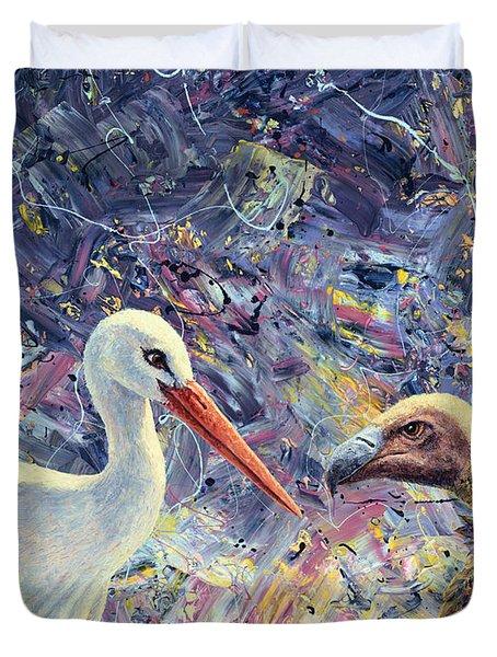 Living Between Beaks Duvet Cover by James W Johnson