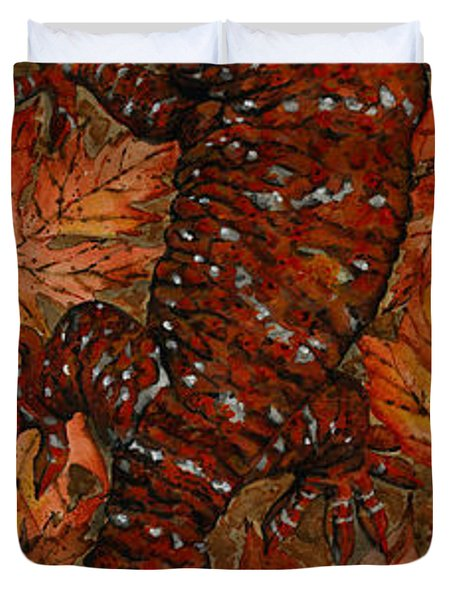 Lizard In Red Nature - Elena Yakubovich Duvet Cover by Elena Yakubovich