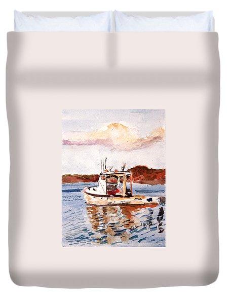 Lobster Boat Duvet Cover by Michael Helfen