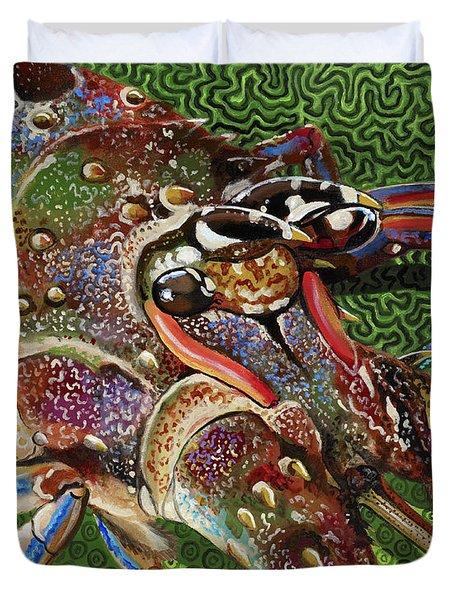 lobster season Re0027 Duvet Cover by Carey Chen