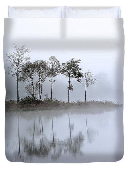 Loch Ard Trees In The Mist Duvet Cover by Grant Glendinning
