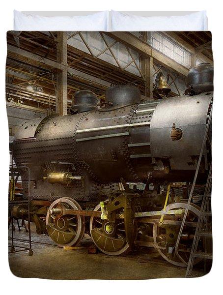 Locomotive - Repairing History Duvet Cover by Mike Savad