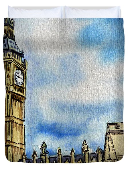 London England Big Ben Duvet Cover by Irina Sztukowski