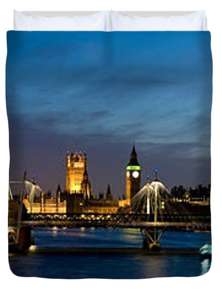 London Eye And Central London Skyline Duvet Cover by Panoramic Images