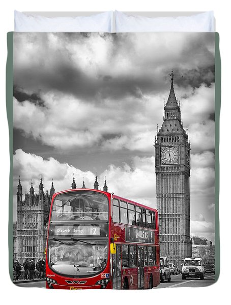 LONDON - Houses of Parliament and Red Bus Duvet Cover by Melanie Viola