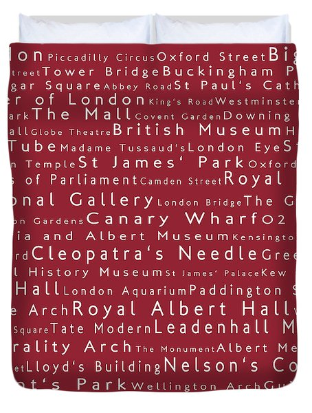 London In Words Red Duvet Cover by Sabine Jacobs
