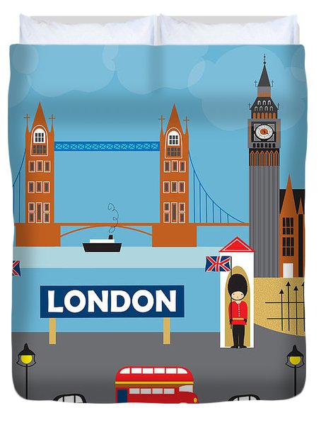 London England Skyline Style O-lon Duvet Cover by Karen Young
