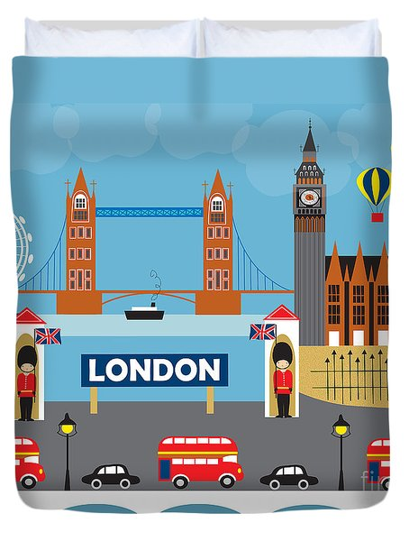London England Skyline By Loose Petals Duvet Cover by Karen Young