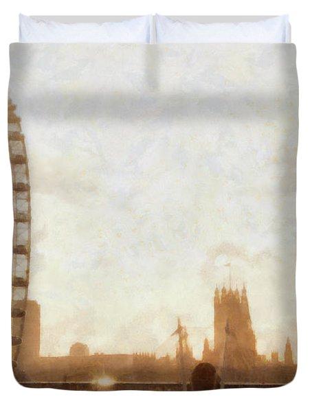 London Skyline At Dusk 01 Duvet Cover by Pixel  Chimp