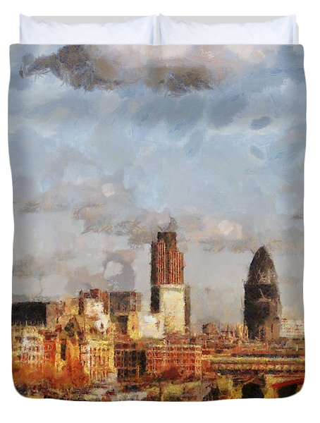 London Skyline From The River  Duvet Cover by Pixel Chimp