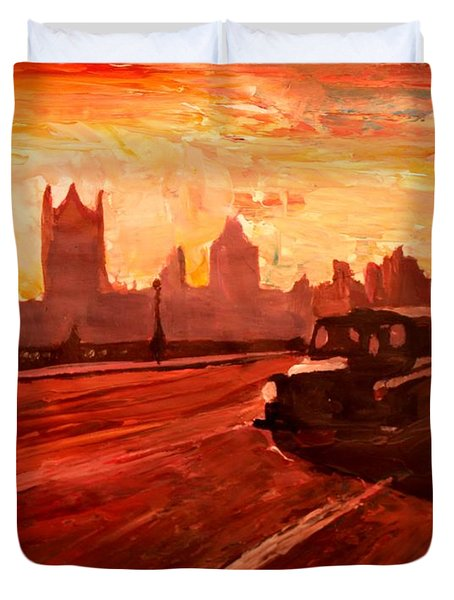 London Taxi Big Ben Sunset With Parliament Duvet Cover by M Bleichner