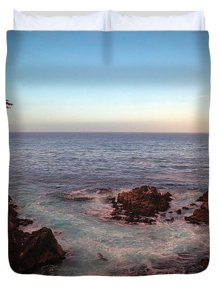 Lone Cyprus Pebble Beach Duvet Cover by Mike Reid