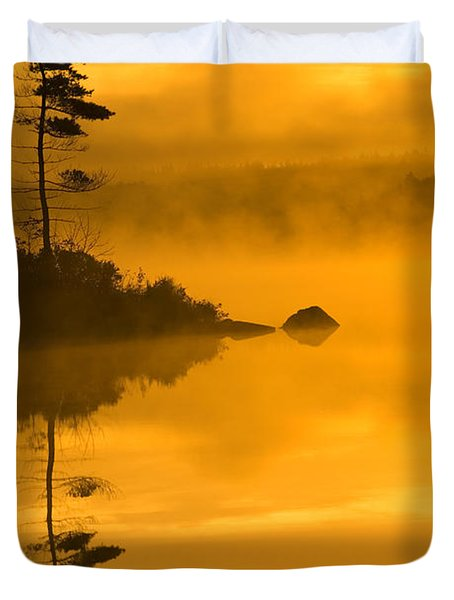 Lone Pine And Misty Lake At Dawn Duvet Cover by Irwin Barrett