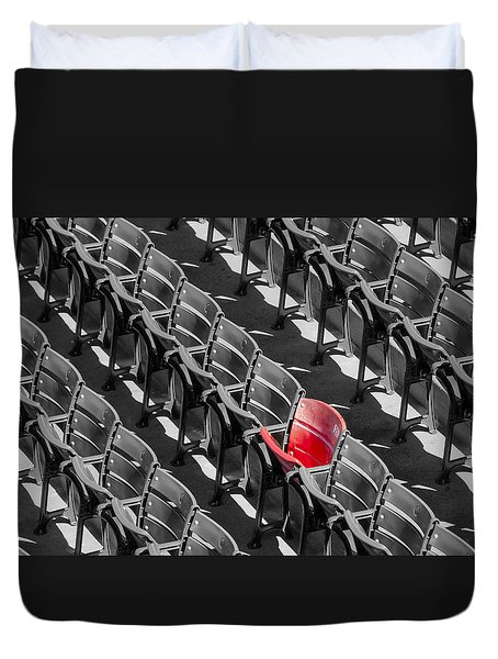 Lone Red Number 21 Fenway Park BW Duvet Cover by Susan Candelario