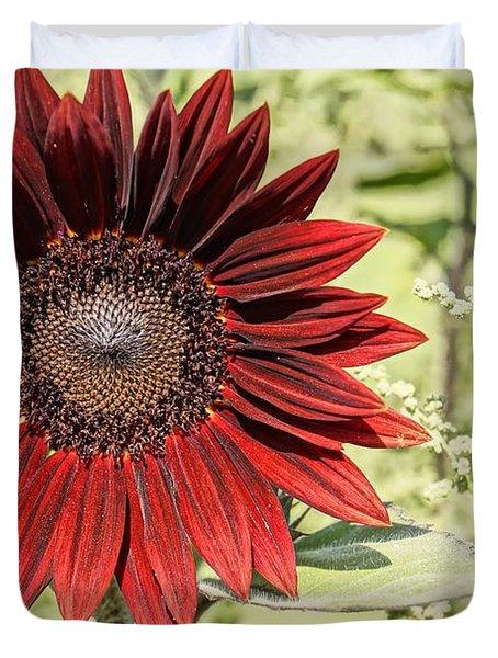 Lone Red Sunflower Duvet Cover by Kerri Mortenson