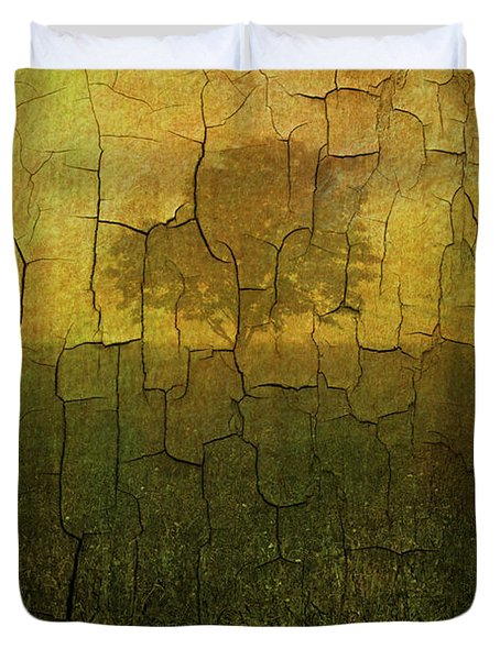 Lone Tree in Meadow -Textured Duvet Cover by David Gordon