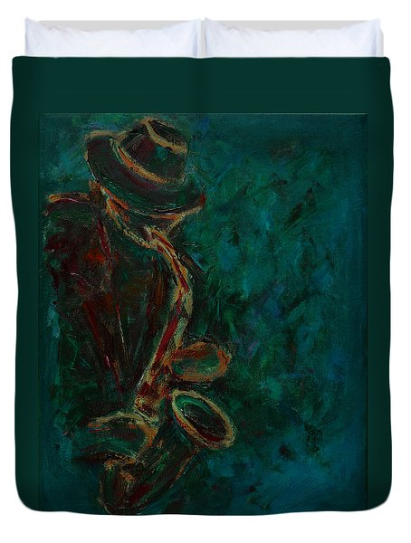 Lonely Jazz Duvet Cover by Xueling Zou