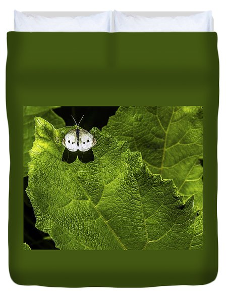 Lonely On A Leaf Duvet Cover by Tim Buisman