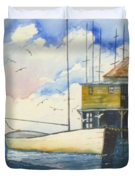Lonesome Sailboat Duvet Cover by Don Hand