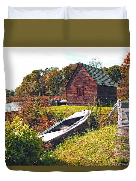 Long Ago Along The Marsh Duvet Cover by Barbara McDevitt