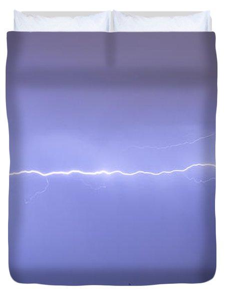 Long Lightning Bolt Strike Across Oil Well Country Sky Duvet Cover by James BO  Insogna