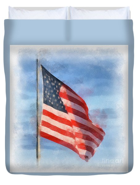 Long May She Wave Duvet Cover by Kerri Farley